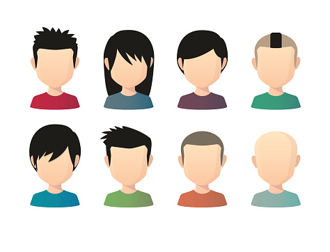 Set of asian male faceless avatars with various hair styles