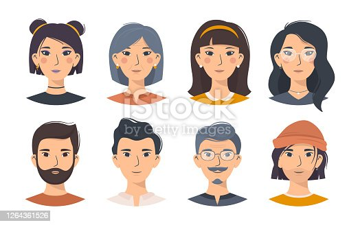 istock Set of Asian men and women in different looks 1264361526