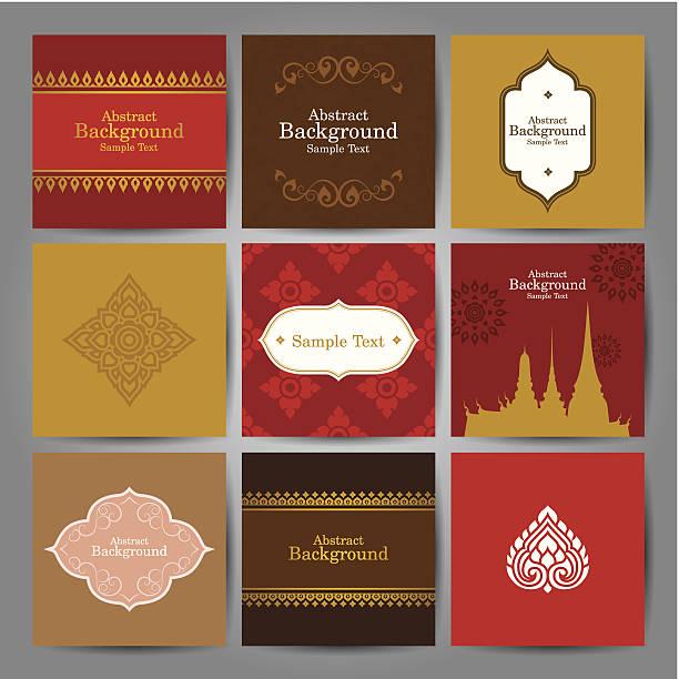 zestaw orientalny tradycyjnej sztuki projekt wektor. - tajlandia stock illustrations