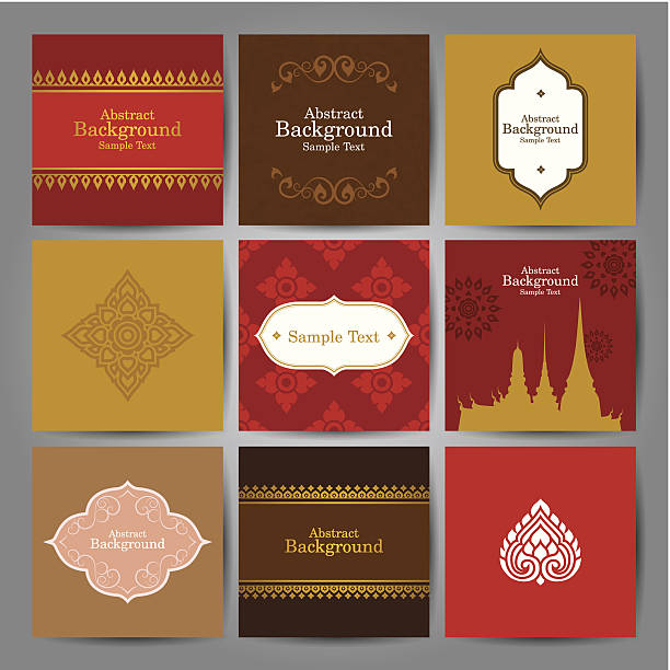 set of asian traditional art design vector. - 泰國 幅插畫檔、美工圖案、卡通及圖標