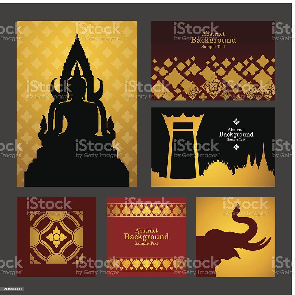 Set of Asian traditional art Design Vector. vector art illustration