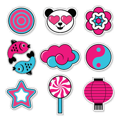 set of asiatic trendy patches