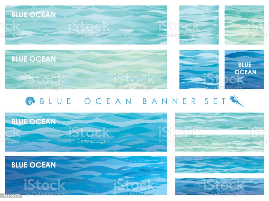 Set of assorted banners with wave patterns.