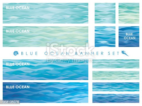 Set of assorted banners with wave patterns, vector illustrations.