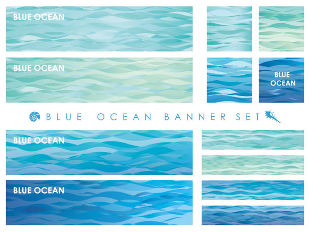 set of assorted banners with wave patterns. - море stock illustrations
