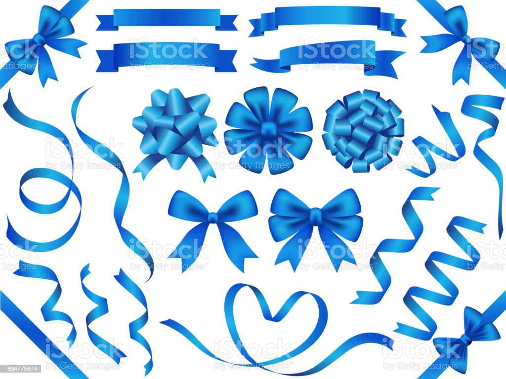 A set of assorted blue ribbons, vector illustration. vector art illustration