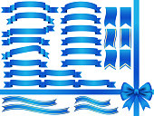 A set of assorted blue ribbons, vector illustration.