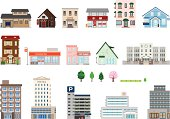 Set of assorted building icons