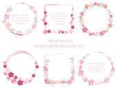 Set of assorted cherry blossom frames. Vector illustration.