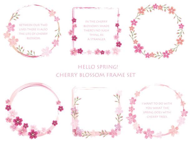 各種桜のフレームのセットです。 - 花のフレーム点のイラスト素材/クリップアート素材/マンガ素材/アイコン素材