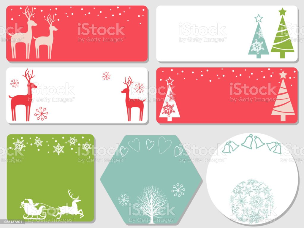 Set Of Assorted Christmas Cards Stock Vector Art & More Images of ...