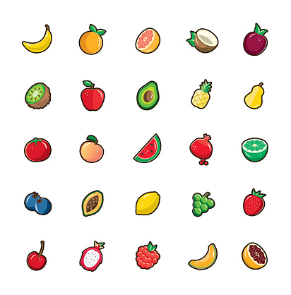 Set of assorted fruits with dark brown thick outline on white