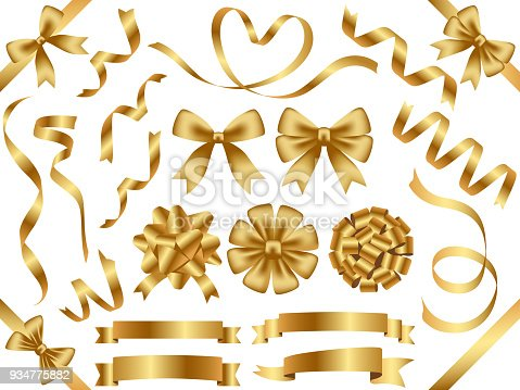 A set of assorted gold ribbons, vector illustration.