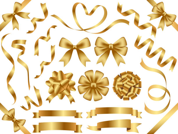 A set of assorted gold ribbons. vector art illustration
