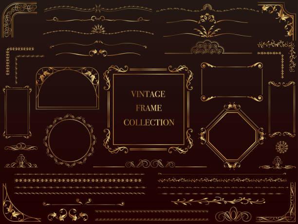 一套各式黃金復古框架。 - 掐絲 幅插畫檔、美工圖案、卡通及圖標