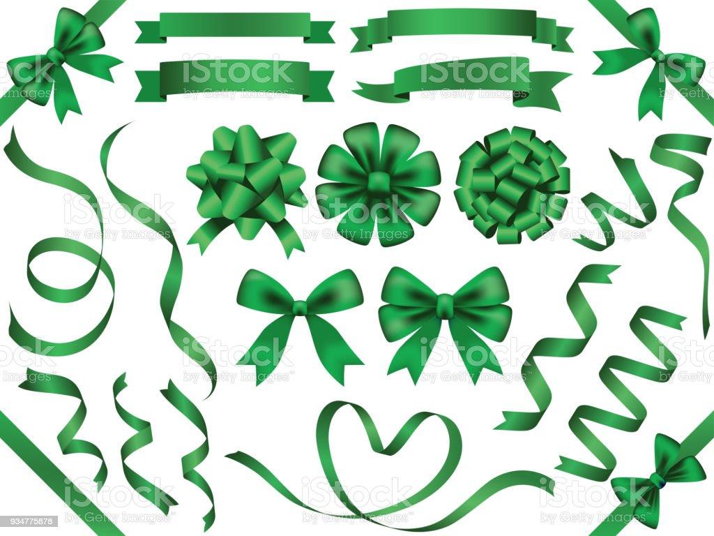 A set of assorted green ribbons, vector illustration. vector art illustration