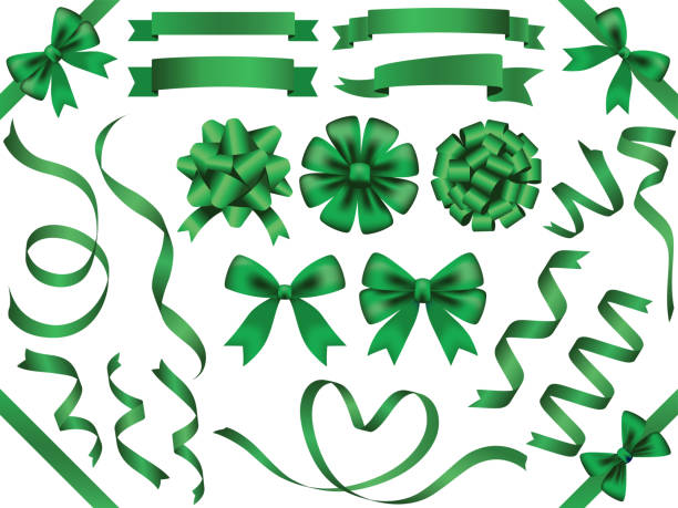 illustrazioni stock, clip art, cartoni animati e icone di tendenza di a set of assorted green ribbons, vector illustration. - verde