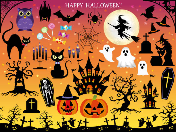 Set of assorted Happy Halloween design elements. Set of assorted Happy Halloween design elements, vector illustration. cat skeleton stock illustrations