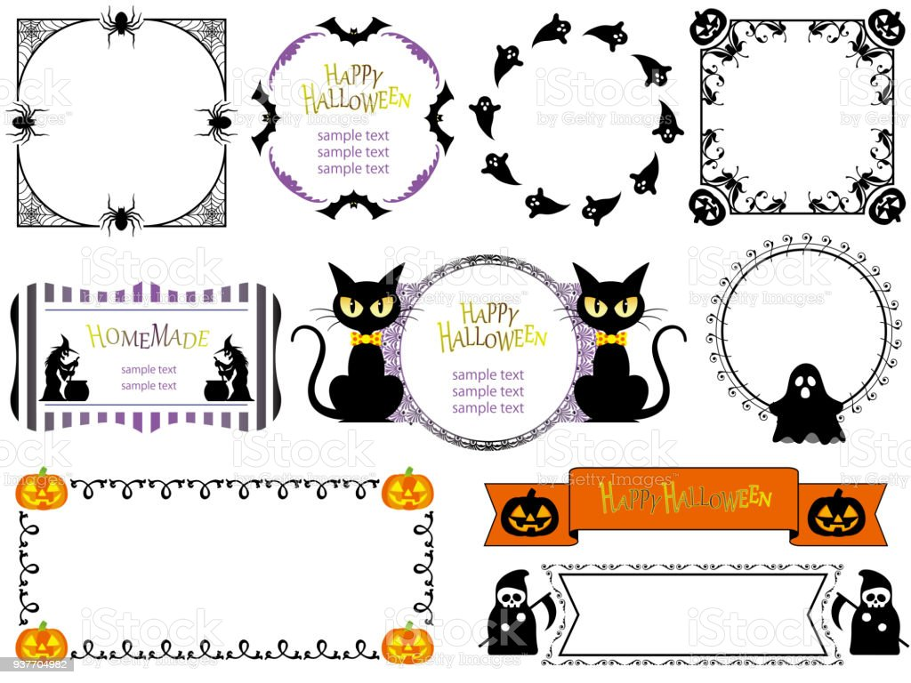 Set Of Assorted Happy Halloween Frames Stock Vector Art & More ...