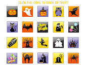 Set of assorted Happy Halloween user interface icons, vector illustrations.