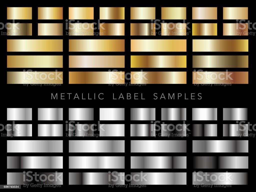 各種金属ラベル サンプルのセットです。 - イラストレーションのロイヤリティフリーベクトルアート