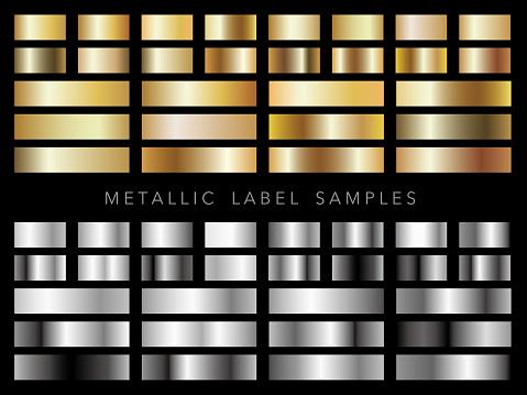 各種金属ラベル サンプルのセットです - イラストレーションのベクターアート素材や画像を多数ご用意
