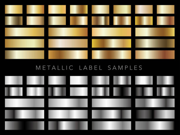 Set of assorted metallic label samples. vector art illustration