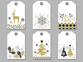 Set of assorted New Year and Christmas gift tags, vector illustrations.