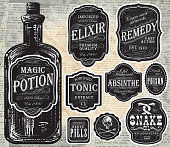 Set of assorted old fashioned labels with bottle. Just place label over bottle to customize.