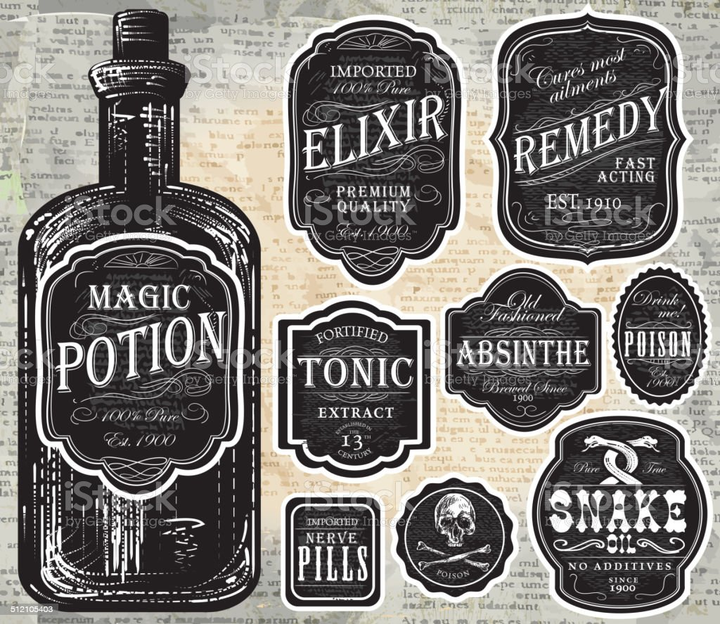 Set of assorted old fashioned black and white labels bottles vector art illustration