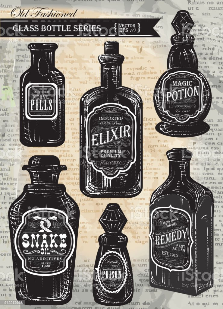 Set Of Assorted Old Fashioned Bottles With Labels Stock Vector Art