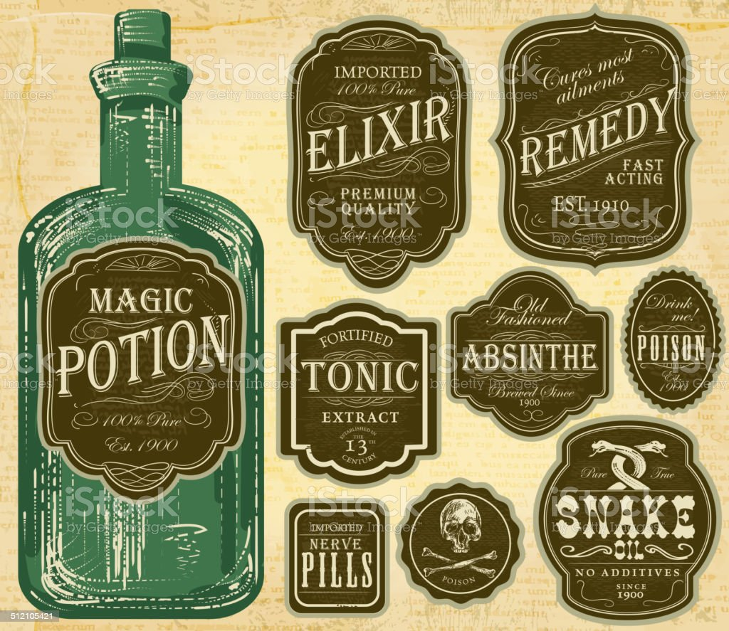 Set of assorted old fashioned green and brown labels bottles vector art illustration