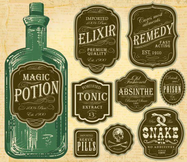 set of assorted old fashioned green and brown labels bottles - snake stock illustrations, clip art, cartoons, & icons
