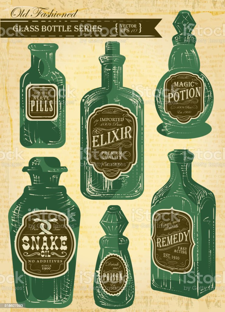 Set of assorted old fashioned labels with bottle on paper vector art illustration