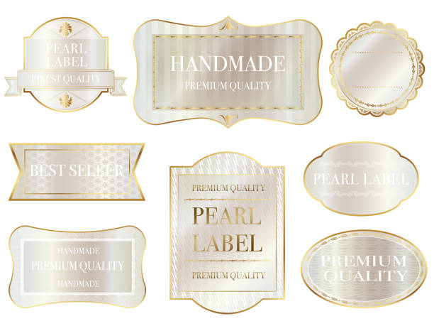 set of assorted pearl-colored labels with text space on a white background. - pearl jewelry stock illustrations, clip art, cartoons, & icons