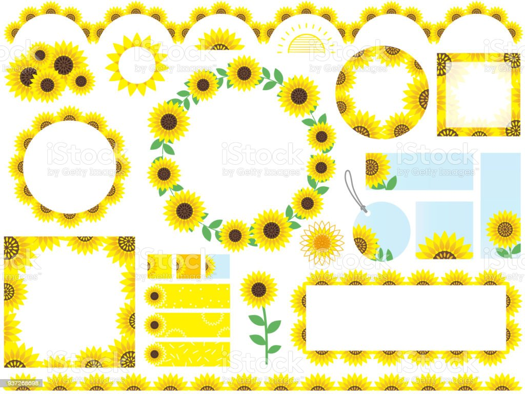 Set Of Assorted Sunflower Frames Borders And Tags Stock Vector Art ...