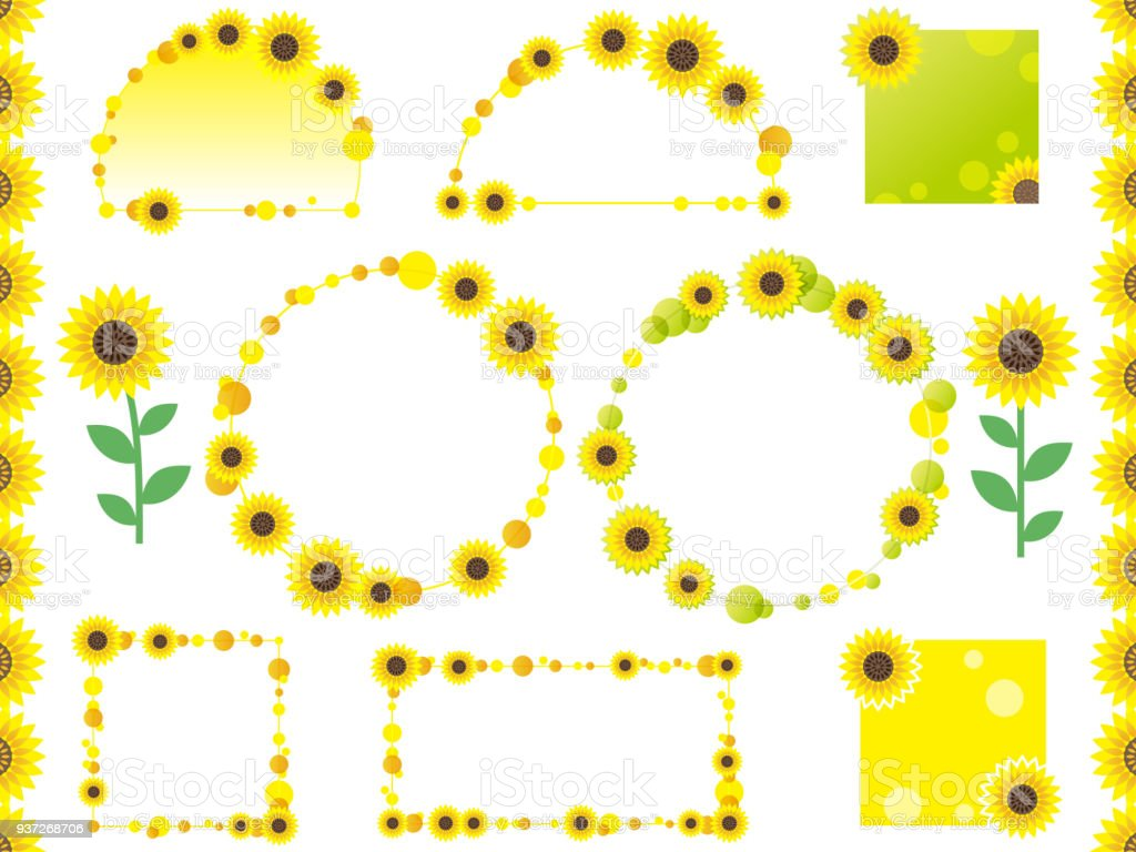 Set Of Assorted Vector Sunflower Frames Borders And Tags Stock ...