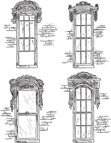 Set of assorted Victorian style windows