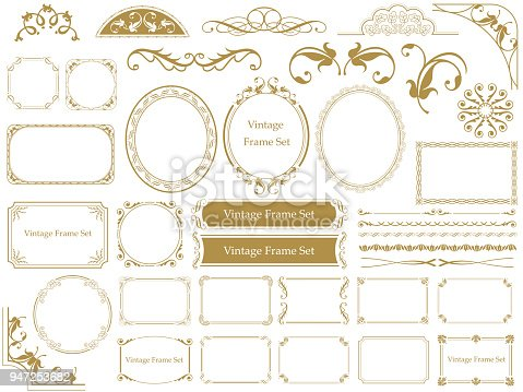 Set of assorted vintage frames, vector illustrations.