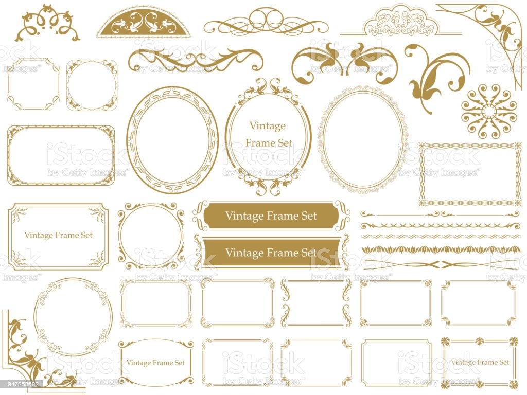 Set of assorted vintage frames. vector art illustration