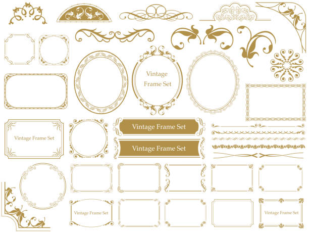 set of assorted vintage frames. - retro and vintage frames stock illustrations, clip art, cartoons, & icons