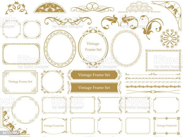 Set of assorted vintage frames, vector illustrations.