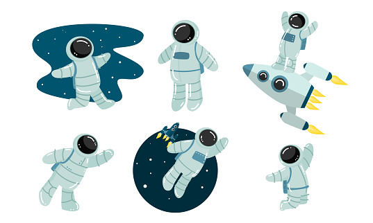 Set of astronaut discovering outer space. Vector illustration in flat cartoon style.