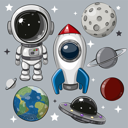 Set of astronaut, rocket and planets