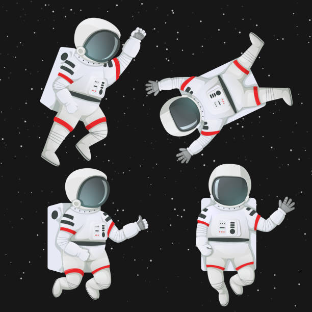 Set of astronauts flying in space. Set of astronauts floating in space in different poses. Waving, giving thumbs up, raising fist and flying with limbs akimbo. astronaut floating in space stock illustrations
