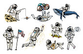 Set of Astronauts in space. Collection soaring spaceman with flag, whale and balloons. dancer musician skateboarder adventure in the galaxy. Homeless traveler engraved hand drawn comic sketch