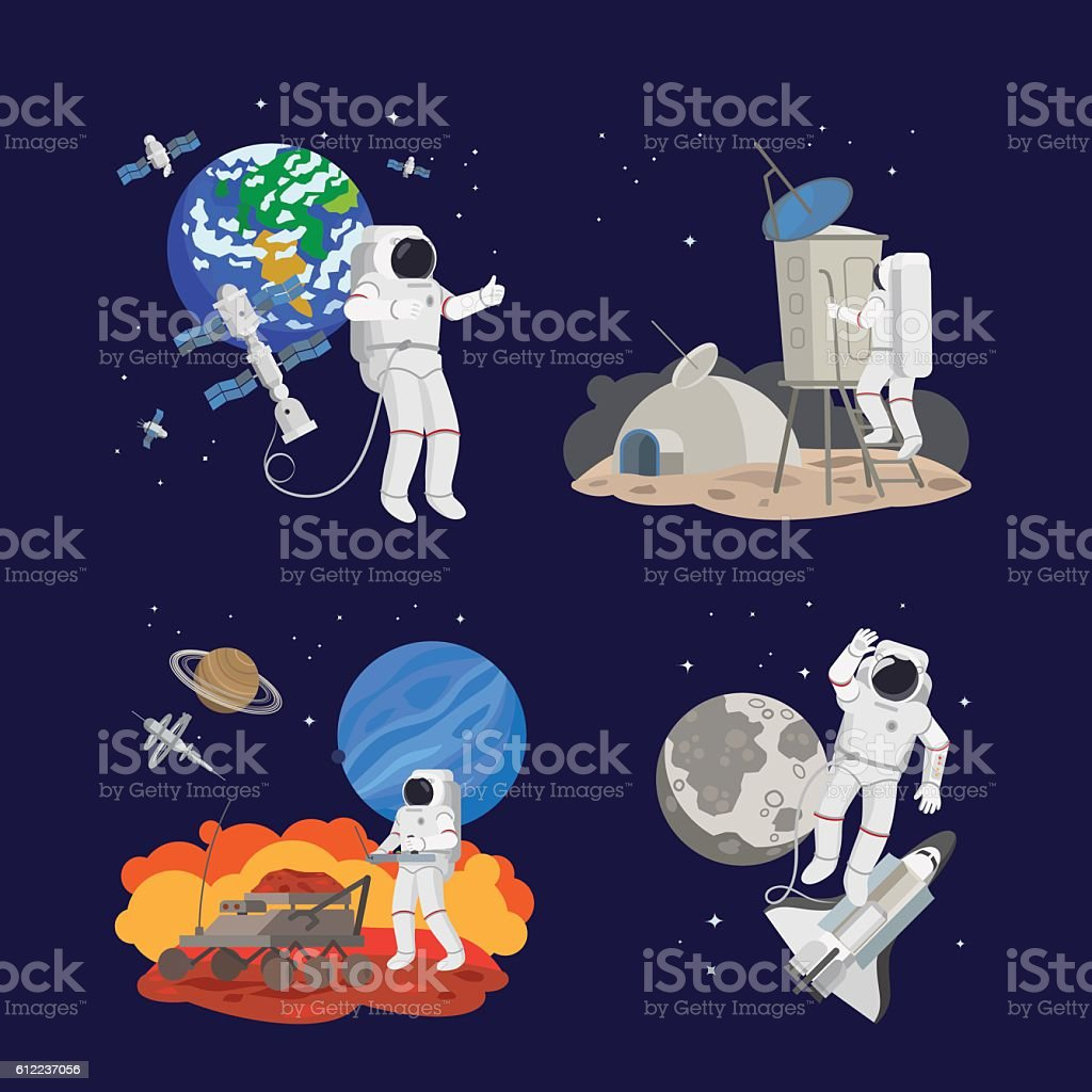 Set of astronauts in space - illustrazione arte vettoriale