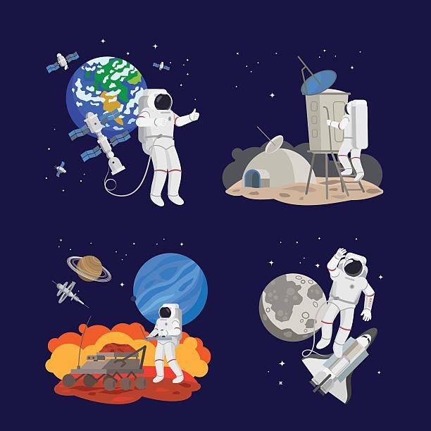Set of astronauts in space - illustrazione arte vettoriale