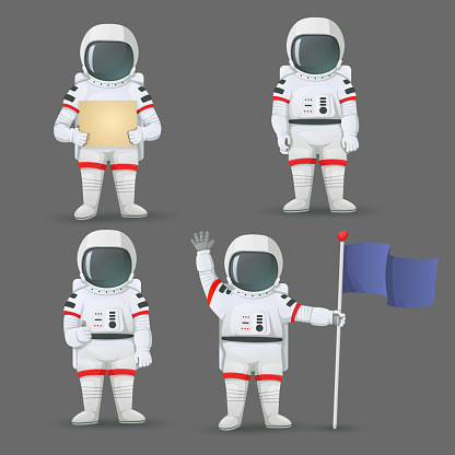 Set of astronauts standing with different gestures isolated on grey background. Giving thumbs up, waving, holding the flag, sign.