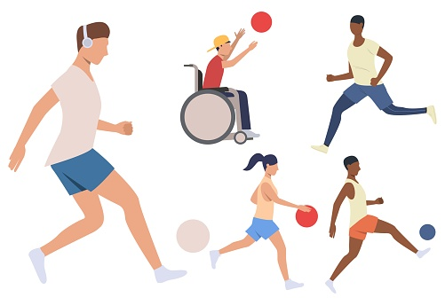 Set of athletes. Men, women and disabled person